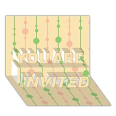 Pastel pattern YOU ARE INVITED 3D Greeting Card (7x5)