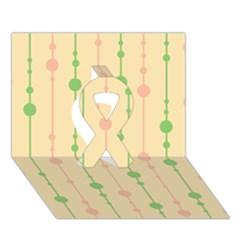 Pastel pattern Ribbon 3D Greeting Card (7x5)