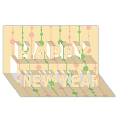 Pastel pattern Happy New Year 3D Greeting Card (8x4)