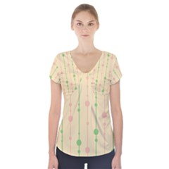 Pastel pattern Short Sleeve Front Detail Top