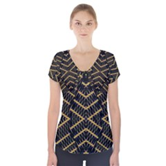 Art Digital (16)gfetju Short Sleeve Front Detail Top