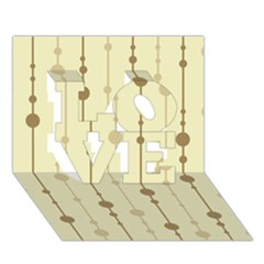 Brown pattern LOVE 3D Greeting Card (7x5)