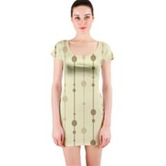 Brown pattern Short Sleeve Bodycon Dress