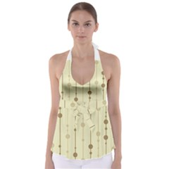 Brown pattern Babydoll Tankini Top