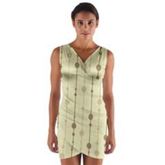Brown pattern Wrap Front Bodycon Dress