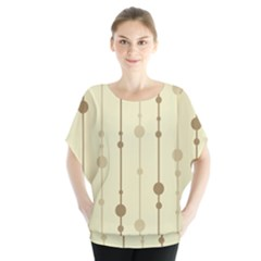 Brown pattern Batwing Chiffon Blouse