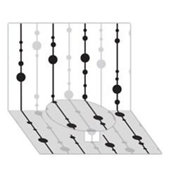 Black and white elegant pattern Circle Bottom 3D Greeting Card (7x5)