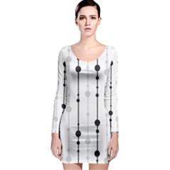 Black and white elegant pattern Long Sleeve Bodycon Dress
