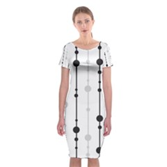 Black and white elegant pattern Classic Short Sleeve Midi Dress