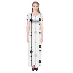 Black And White Elegant Pattern Short Sleeve Maxi Dress