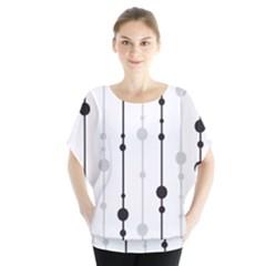 Black and white elegant pattern Batwing Chiffon Blouse