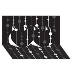 Black And White Pattern Twin Hearts 3d Greeting Card (8x4)