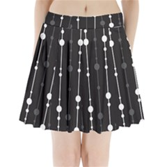 Black And White Pattern Pleated Mini Mesh Skirt