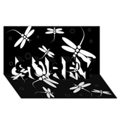 Dragonflies Pattern Sorry 3d Greeting Card (8x4)