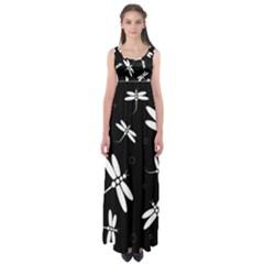 Dragonflies pattern Empire Waist Maxi Dress