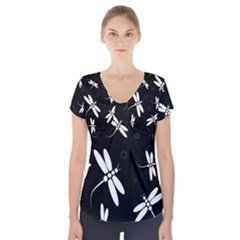 Dragonflies Pattern Short Sleeve Front Detail Top