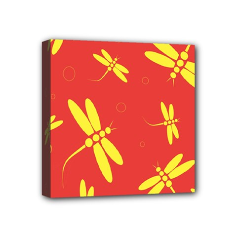 Red and yellow dragonflies pattern Mini Canvas 4  x 4