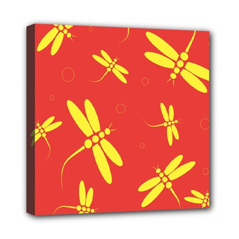 Red and yellow dragonflies pattern Mini Canvas 8  x 8