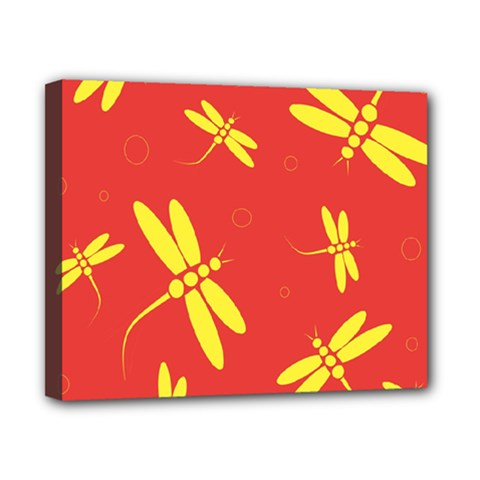 Red and yellow dragonflies pattern Canvas 10  x 8