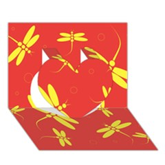 Red and yellow dragonflies pattern Heart 3D Greeting Card (7x5)