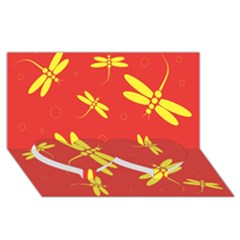 Red and yellow dragonflies pattern Twin Heart Bottom 3D Greeting Card (8x4)