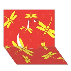 Red and yellow dragonflies pattern Apple 3D Greeting Card (7x5)