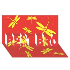 Red and yellow dragonflies pattern BEST BRO 3D Greeting Card (8x4)