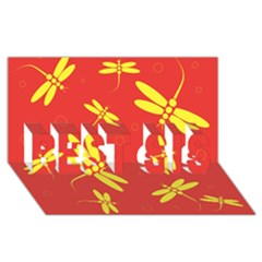 Red and yellow dragonflies pattern BEST SIS 3D Greeting Card (8x4)
