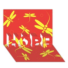 Red and yellow dragonflies pattern HOPE 3D Greeting Card (7x5)