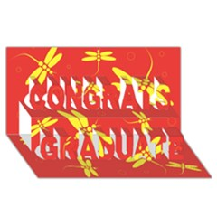 Red and yellow dragonflies pattern Congrats Graduate 3D Greeting Card (8x4)