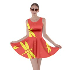 Red and yellow dragonflies pattern Skater Dress