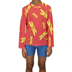 Red And Yellow Dragonflies Pattern Kid s Long Sleeve Swimwear