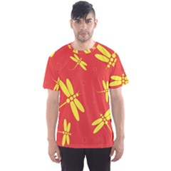 Red and yellow dragonflies pattern Men s Sport Mesh Tee
