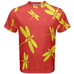 Red and yellow dragonflies pattern Men s Cotton Tee