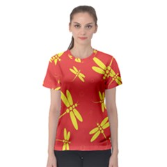 Red and yellow dragonflies pattern Women s Sport Mesh Tee