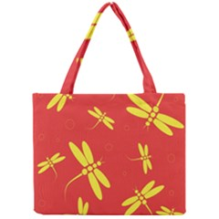 Red and yellow dragonflies pattern Mini Tote Bag