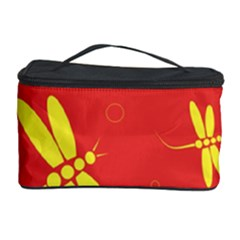 Red and yellow dragonflies pattern Cosmetic Storage Case