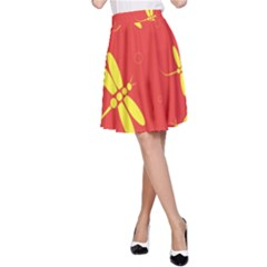 Red and yellow dragonflies pattern A-Line Skirt