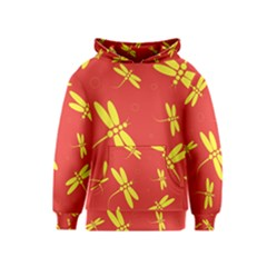 Red and yellow dragonflies pattern Kids  Pullover Hoodie