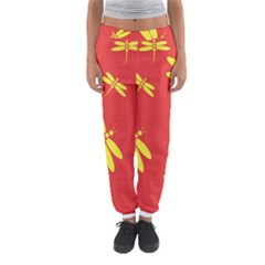 Red and yellow dragonflies pattern Women s Jogger Sweatpants