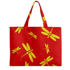 Red and yellow dragonflies pattern Zipper Mini Tote Bag
