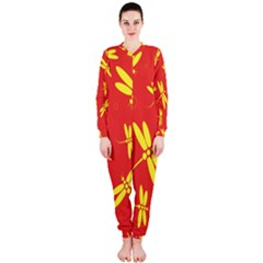 Red and yellow dragonflies pattern OnePiece Jumpsuit (Ladies)