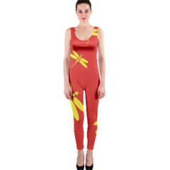 Red and yellow dragonflies pattern OnePiece Catsuit