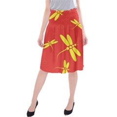 Red and yellow dragonflies pattern Midi Beach Skirt
