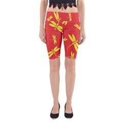 Red and yellow dragonflies pattern Yoga Cropped Leggings