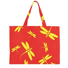 Red and yellow dragonflies pattern Large Tote Bag