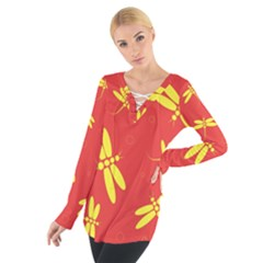 Red and yellow dragonflies pattern Women s Tie Up Tee