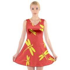 Red And Yellow Dragonflies Pattern V Neck Sleeveless Skater Dress