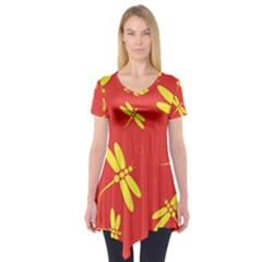 Red and yellow dragonflies pattern Short Sleeve Tunic