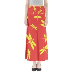 Red and yellow dragonflies pattern Maxi Skirts